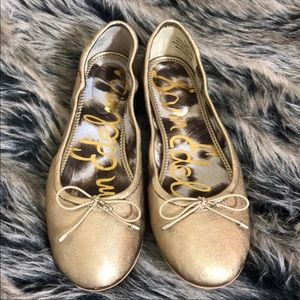 Sam Edelman Dark Gold Flats with Bow